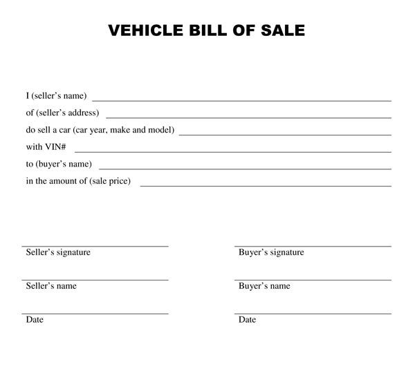bill of sale form for used car