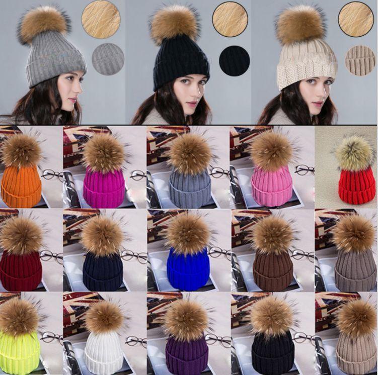 Women Fur Pom Pom Ball Knit Crochet Baggy Bobble Hat Beanie Beret Ski Cap Warm V
