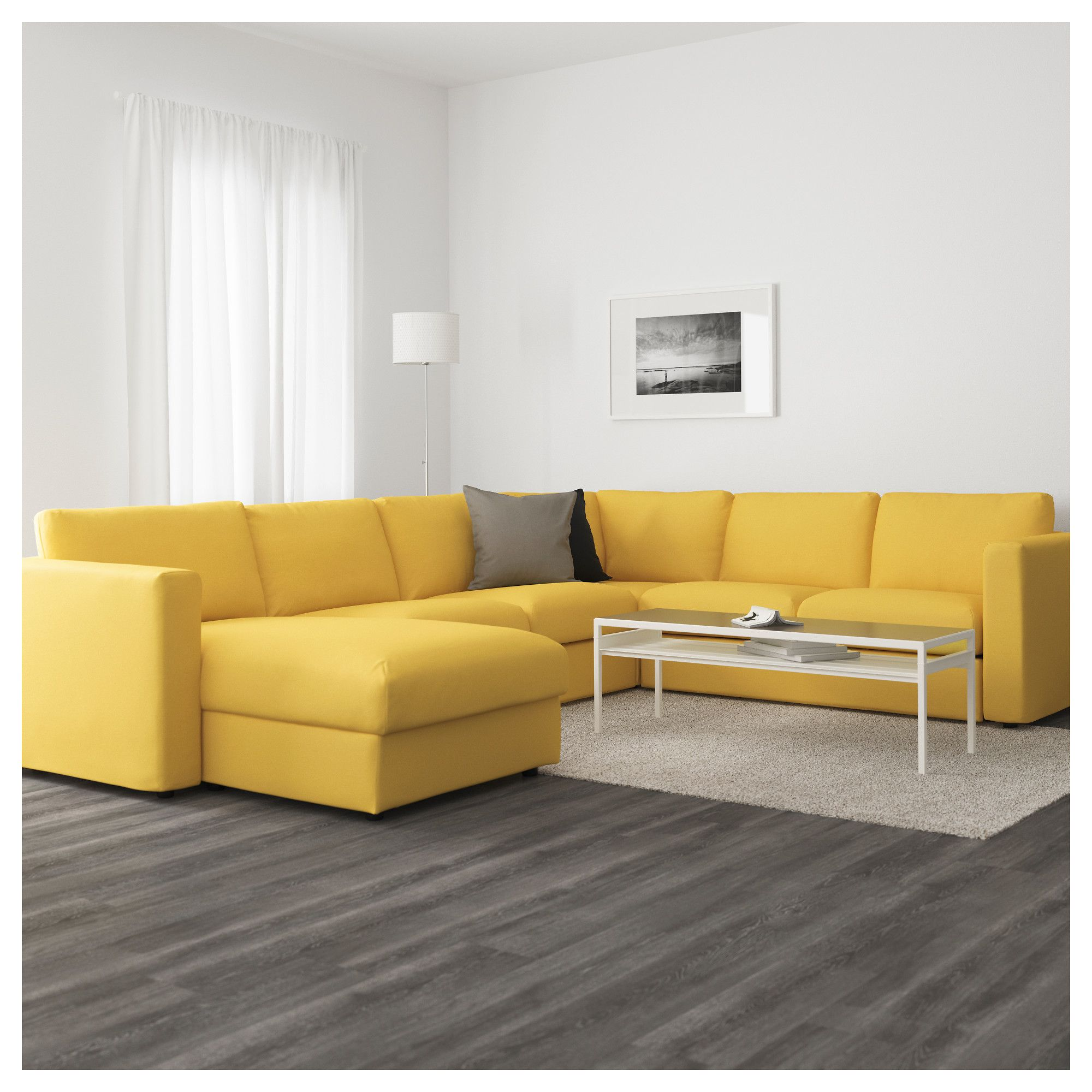 Orrsta Golden Yellow: VIMLE Sectional, 5-seat Corner With Chaise, Orrsta