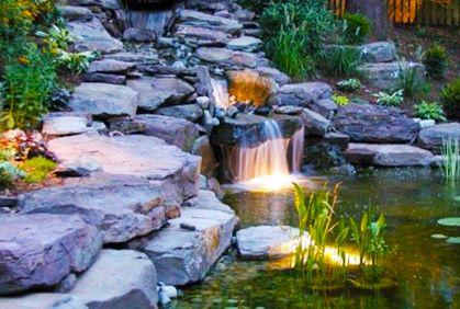 Pictures Of Backyard Waterfall Ideas Landscape Lighting Garden