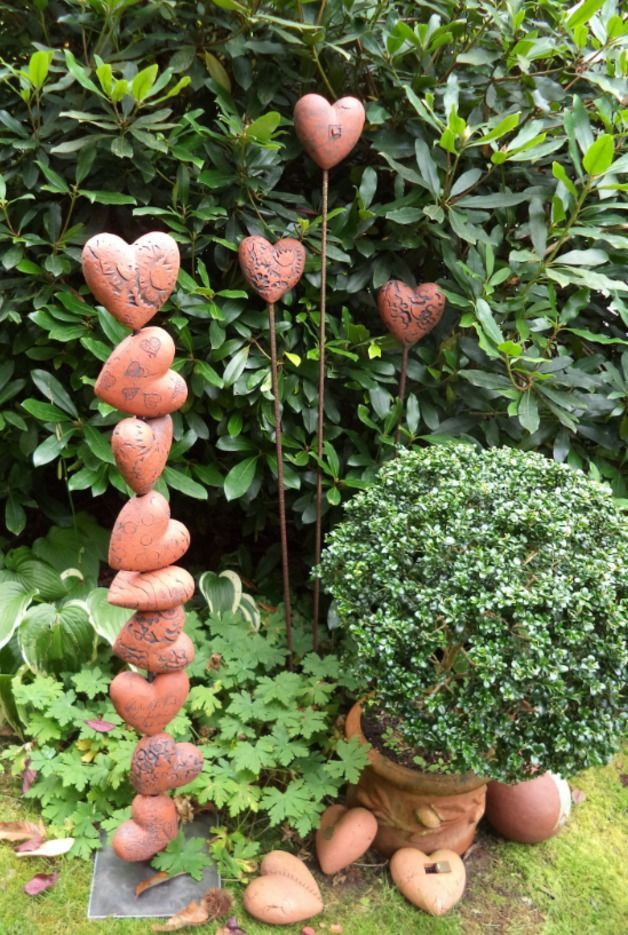 Ceramic Hearts With Different Surface Areas Cottage Garden Pond Garden Pottery Garden Totems Garden Art Sculptures