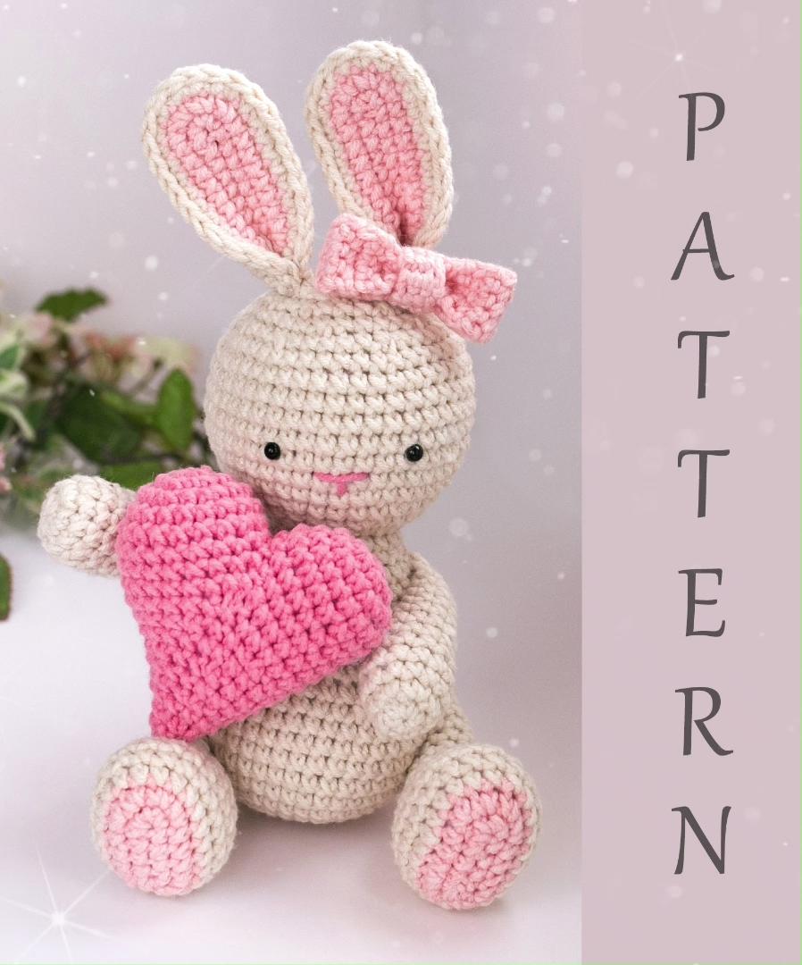 Amigurumi crochet pattern, Bunny rabbit PDF tutorial, gift for her, Valentine's Day gift