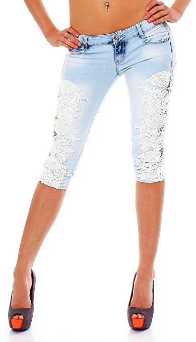 bfb0663a2d5f 10554 Fashion4Young Damen Sexy Capri-Jeans Bermuda Short kurze Hose Hot  Pants Shorts jeans Spitze (XL 42, Blau)