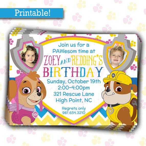 pup patrol birthday party invitation twins or siblings joint birthday diy printable picture