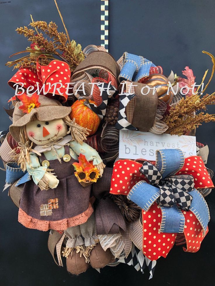Excited to share this item from my #etsy shop: Autumn Front Door Wreath, Scarecrow Wreath, Thanksgiving Wreath, Fall Door Decor, Fall Welcome Wreath #scarecrowwreath