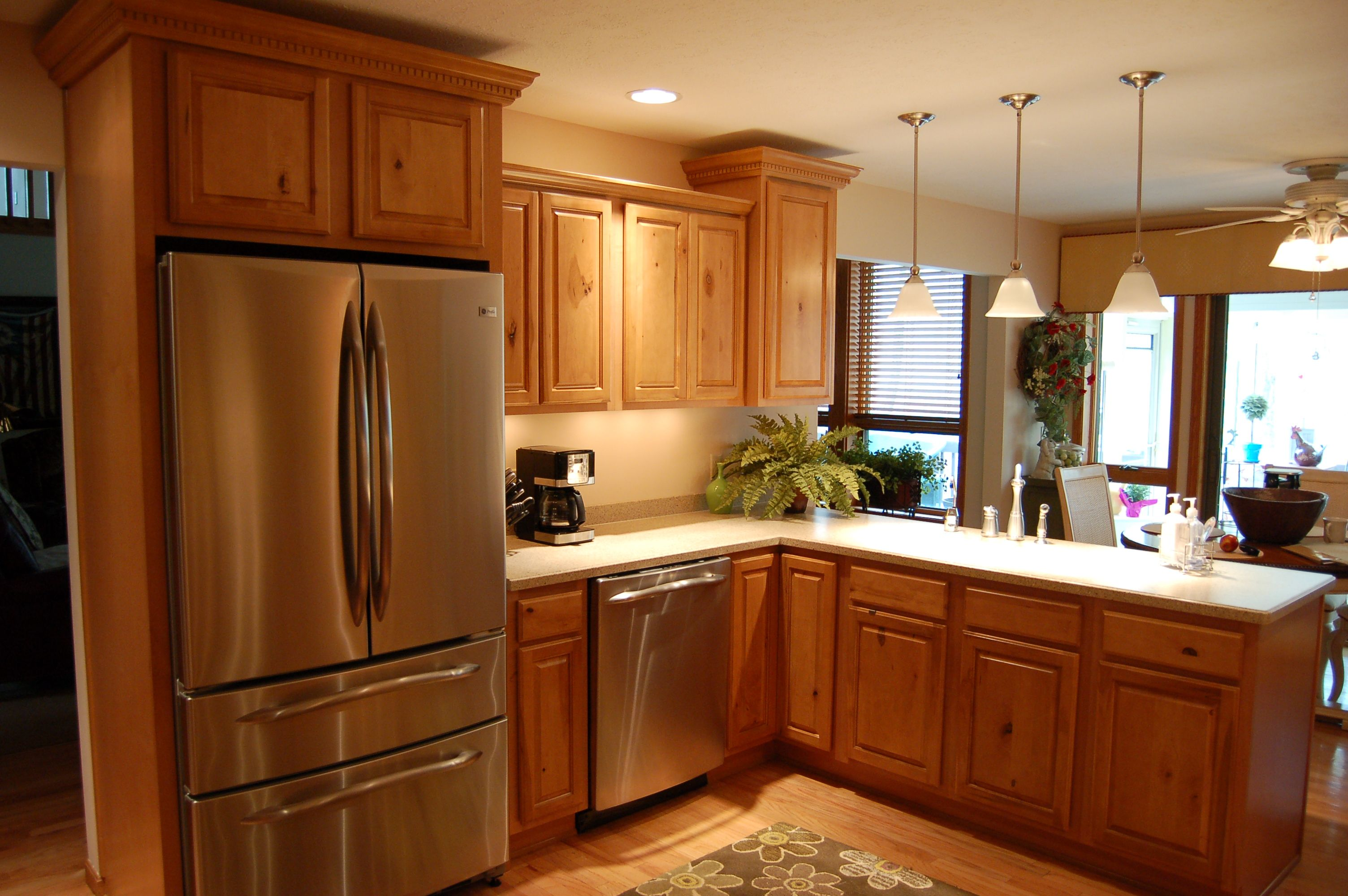 oak kitchen cabinets with white countertop - Remodel Kitchen Cabinets