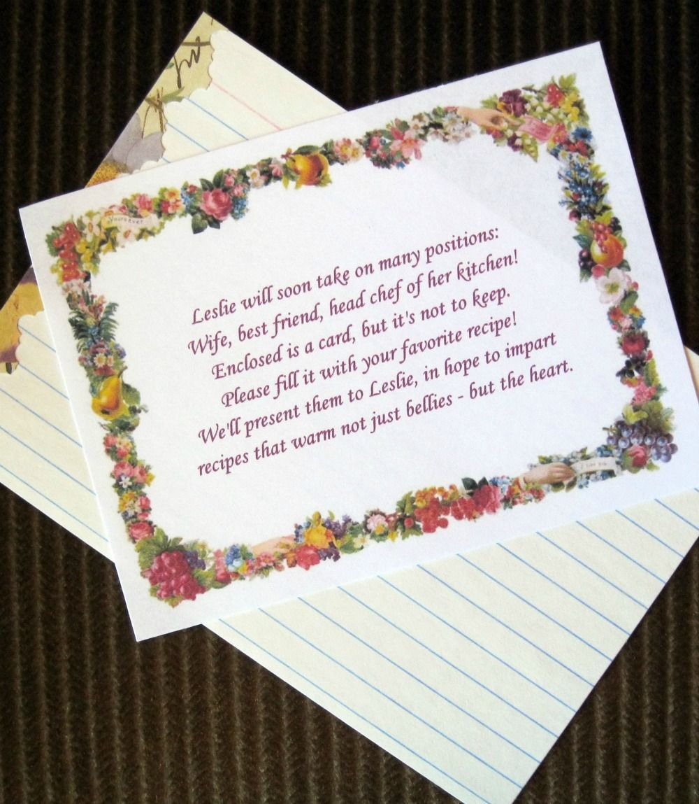 recipe themed bridal shower invitation wording%0A Cute Poem for Bridal Shower Invites