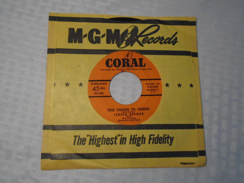 45 Record / Teresa Brewer / juke box record / phonograph Record /Turntable / Vinyl record / 1950's music by Montyhallsshowcase on Etsy