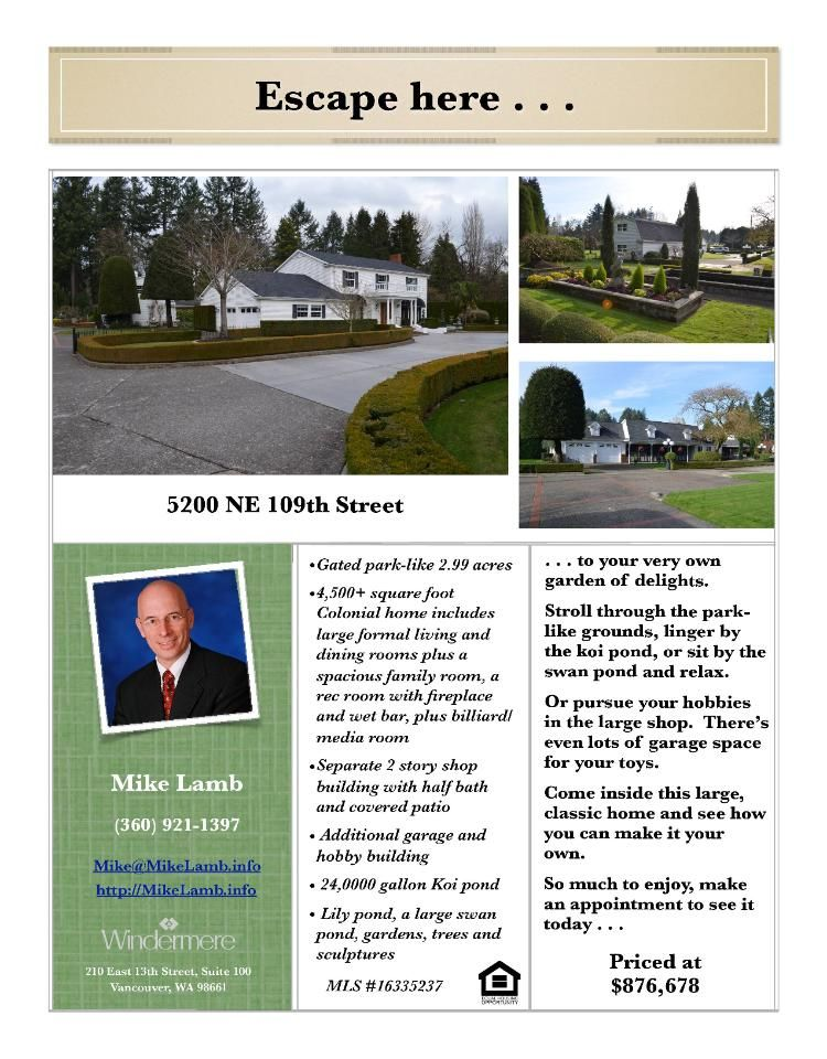 Real Estate At 5200 Ne 109th Street Vancouver Washington 98686 Real Estate Real Estate Flyers Pleasant Valley