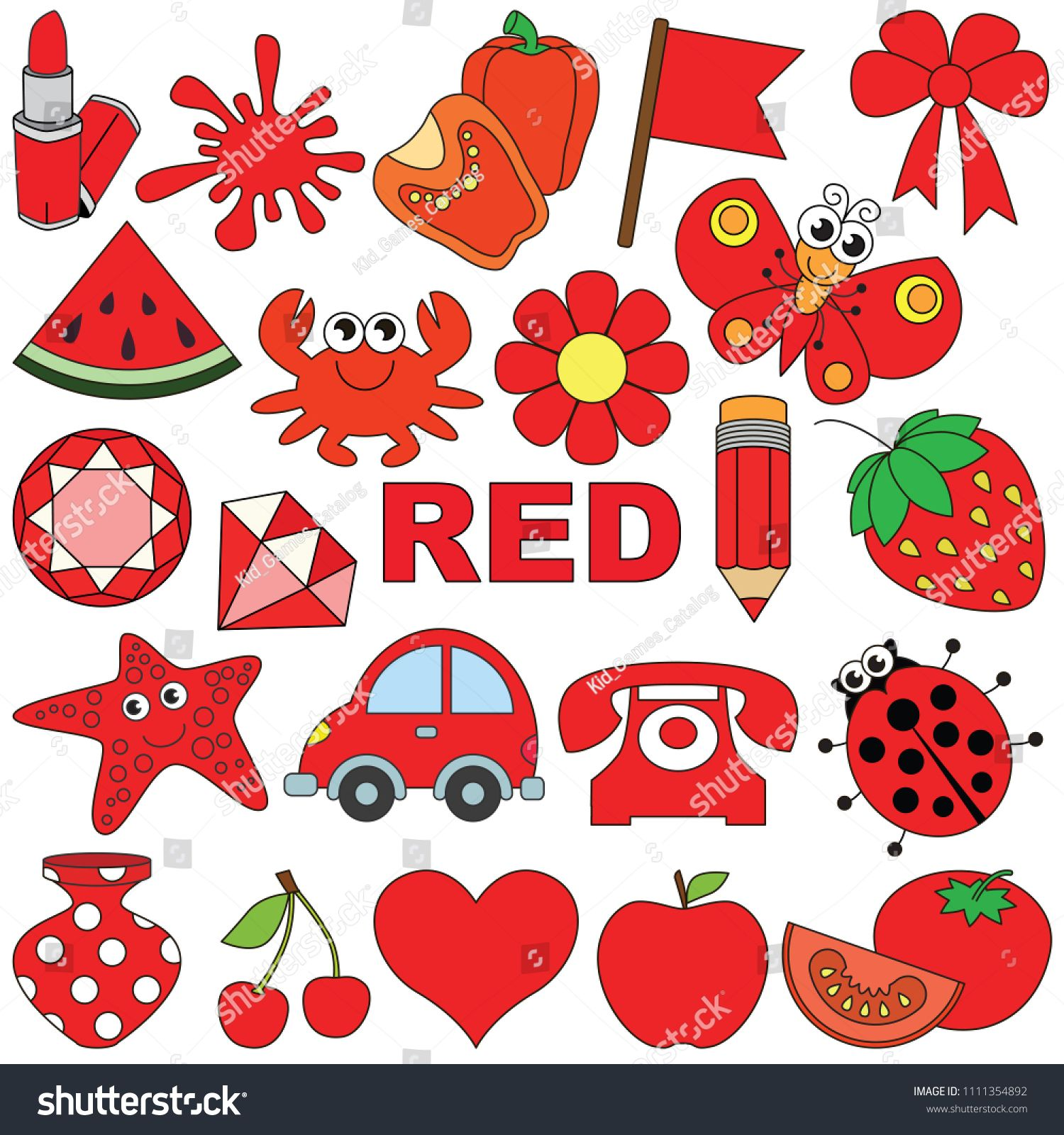Red Objects Color Elements Set Collection Of Coloring