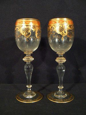 Details about VINTAGE PAIR MOSER ART GLASS JEWELED & GOLD GILT WINE