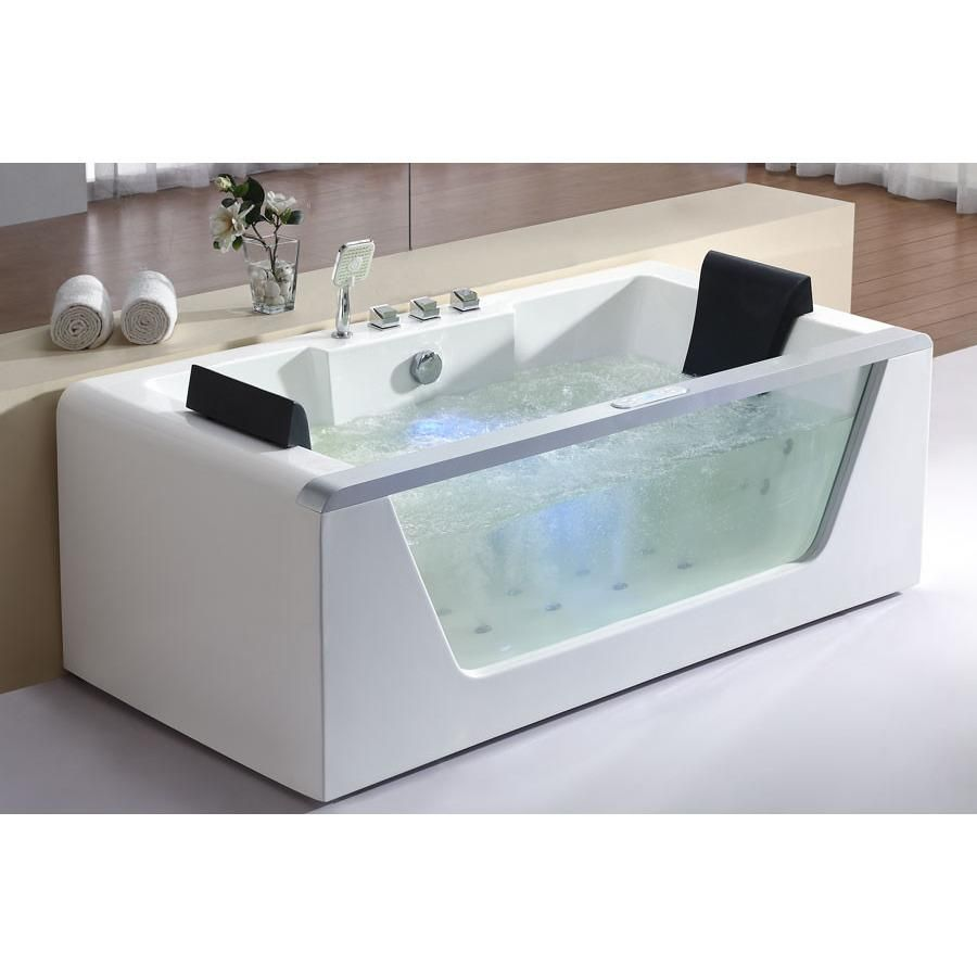 EAGO 6ft Freestanding 2 Person Clear Whirlpool Bathtub AM196