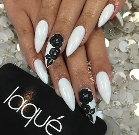 White With Black 3d Flowers Stiletto Nails Black