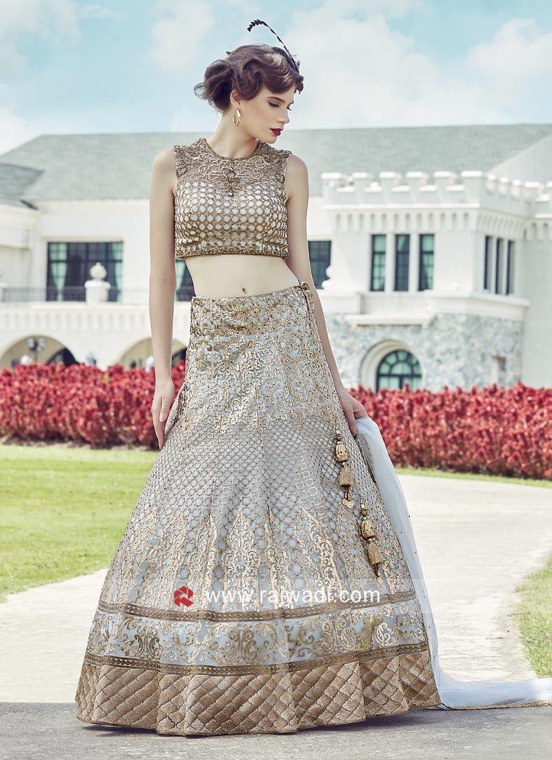 049cde1a727003 Embroidered Tissue Silk Lehenga Choli. #rajwadi #cholisuit #readycholi #  lehengas #embroidered #FeelRoyal #bridal #colorful