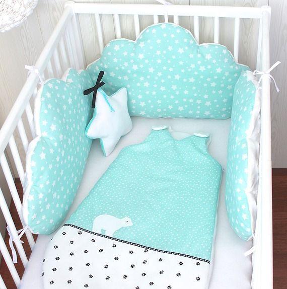 6 PC tour de lit tresse,Pare-chocs de rev/êtement de lit b/éb/é coton cr/éatif adorable forme de l/él/éphant Polka Dot Star Pare-chocs de lit de lit de b/éb/é pour les tout-petits