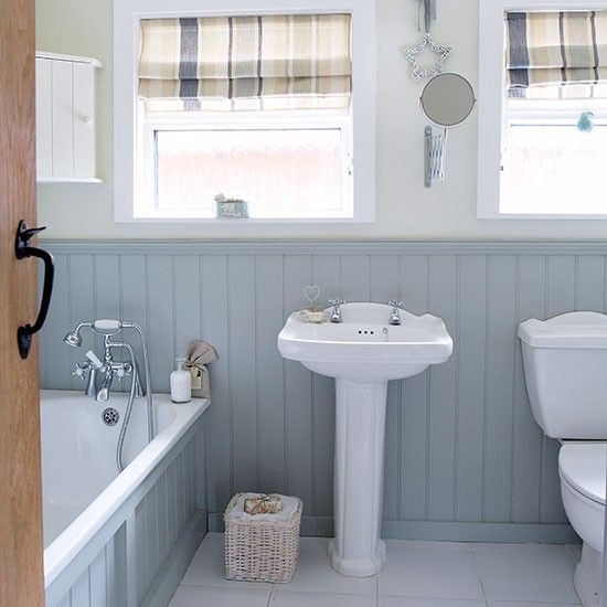 Grey and white country bathroom with wall panels | Gray, Interiors ...
