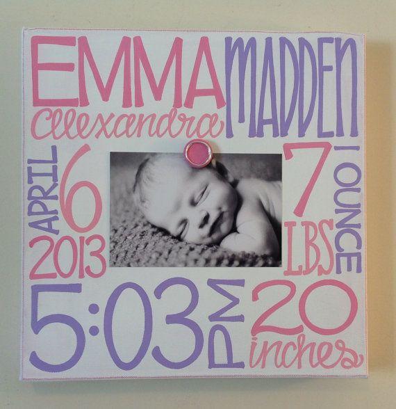 Baby Birth Information Canvas Frame 12x12 | Baby birth, Birth and ...