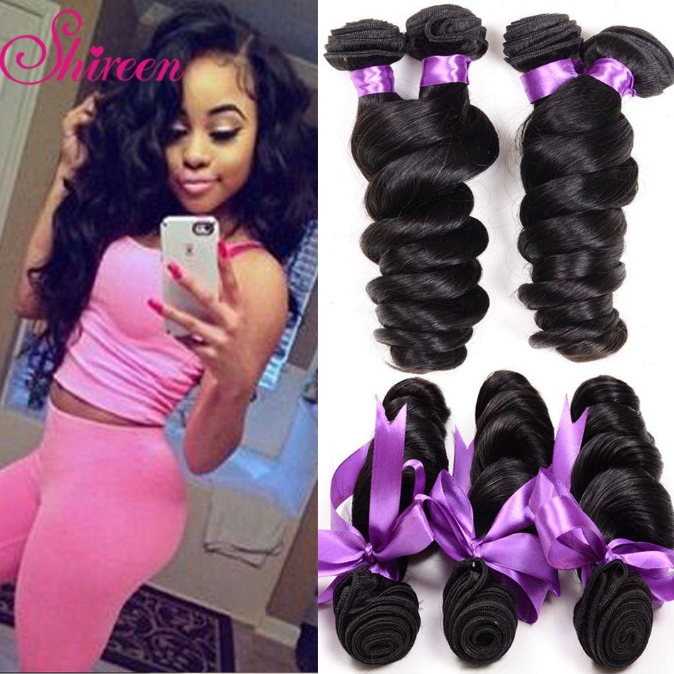 Shireen Hair Peruvian Loose Wave Hair 4 Bundle Deals Cheap Human