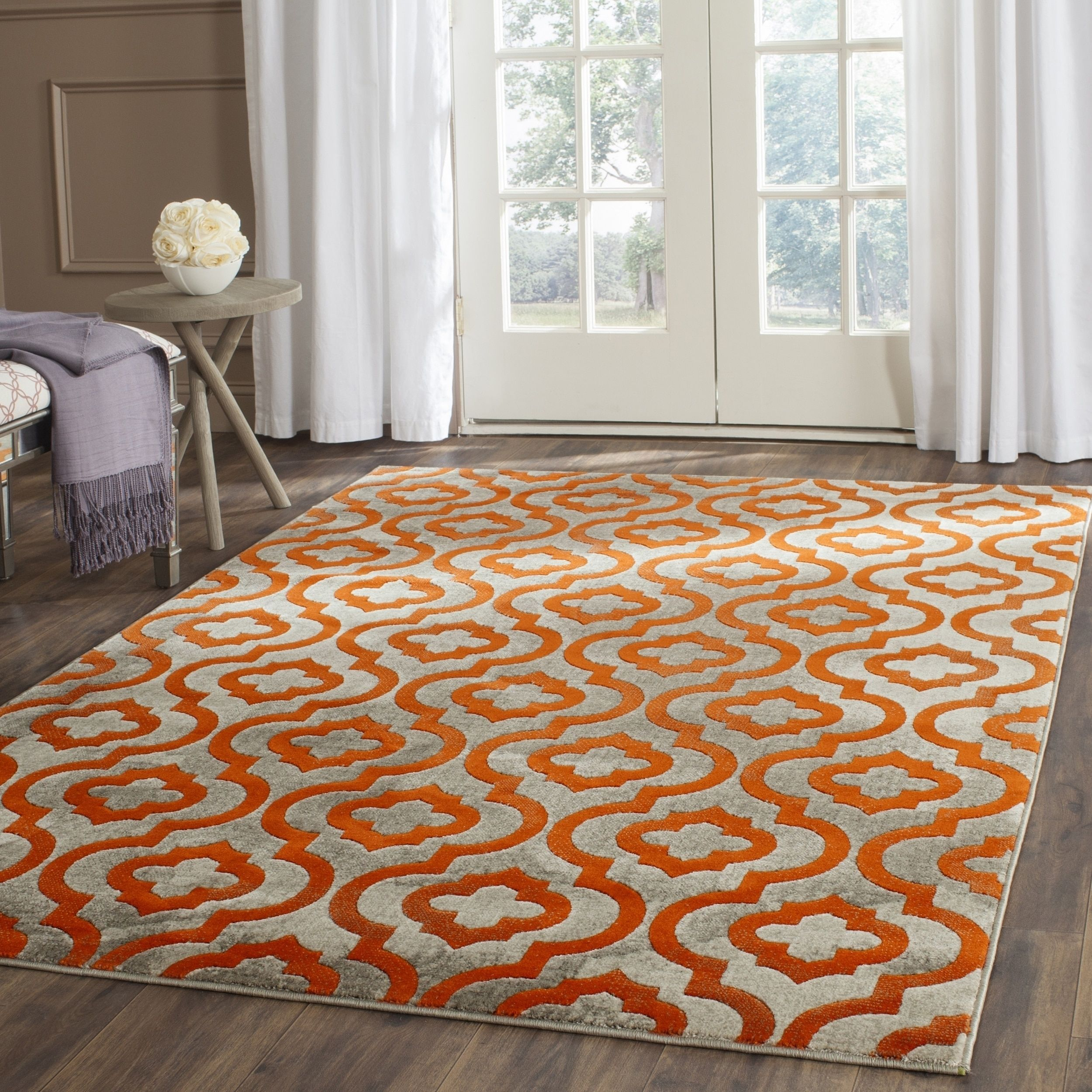 Safavieh Porcello Sanije Modern Moroccan Rug Orange Rugs Living