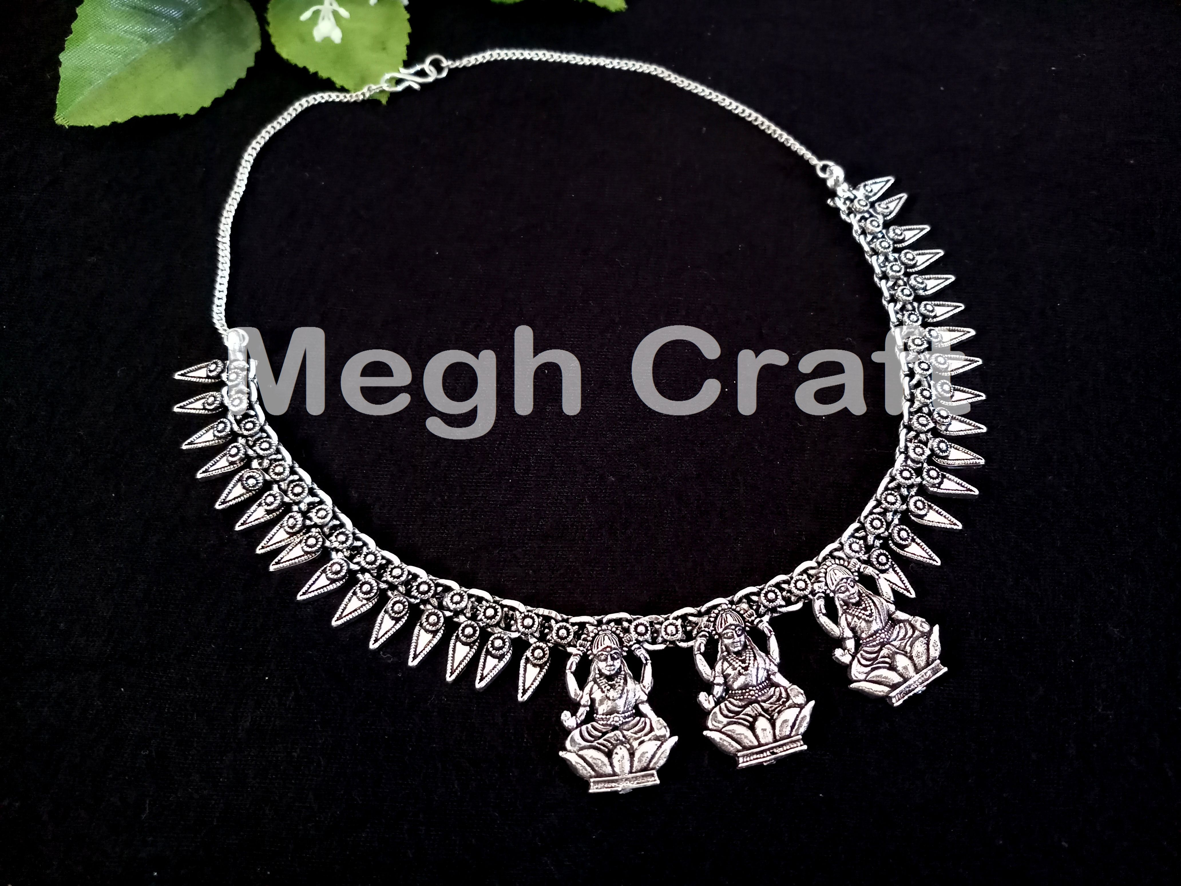 49bc90de91 Antique Oxidized Silver Silk Thread Necklace- Hand-crafted Beaded Silver  Necklaces- Tribal Antique Silver Plated Necklace- BY #CraftsOfGujarat ...