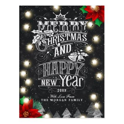 Merry Christmas Happy New Year Bokeh String Lights Postcard - new year greeting card template