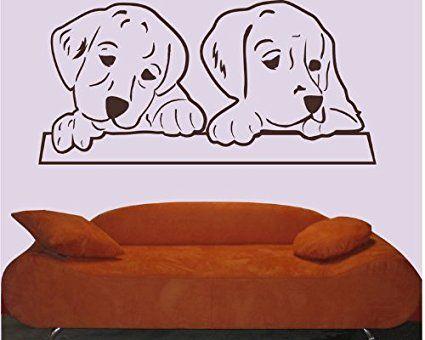 Nice blattwerk design Wandtattoo Hunde Junge Hunde M Gr n Amazon de Baumarkt
