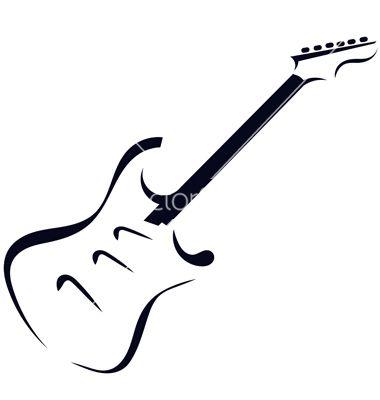 Black Silhouette Of Electric Guitar Vector Image On Vectorstock Guitar Tattoo Design Guitar Tattoo Guitar Vector