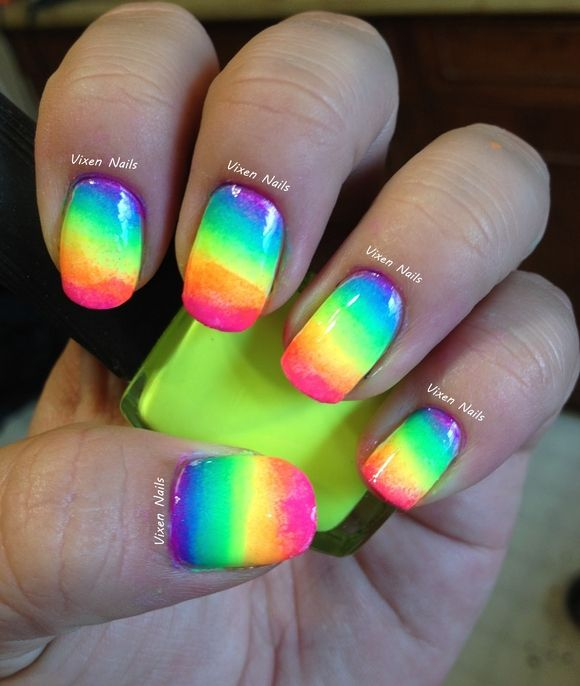 Neon rainbow nails- i did something like this once, got a lot of ...