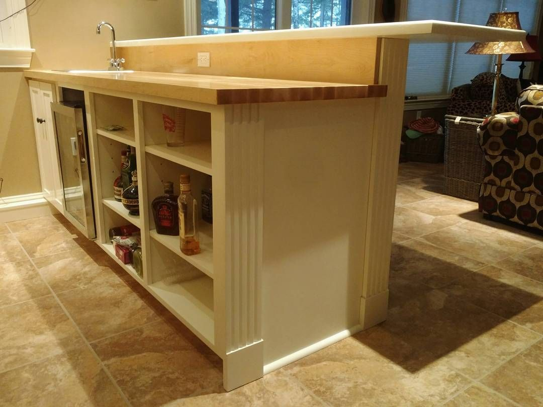Final touches complete, bar done! Two tiered wet bar with ...