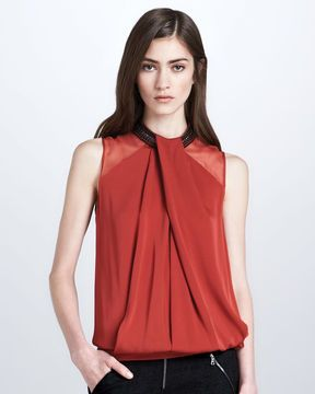 Robert Rodriguez Crystal-Choker Satin Blouse, Persimmon on shopstyle.com