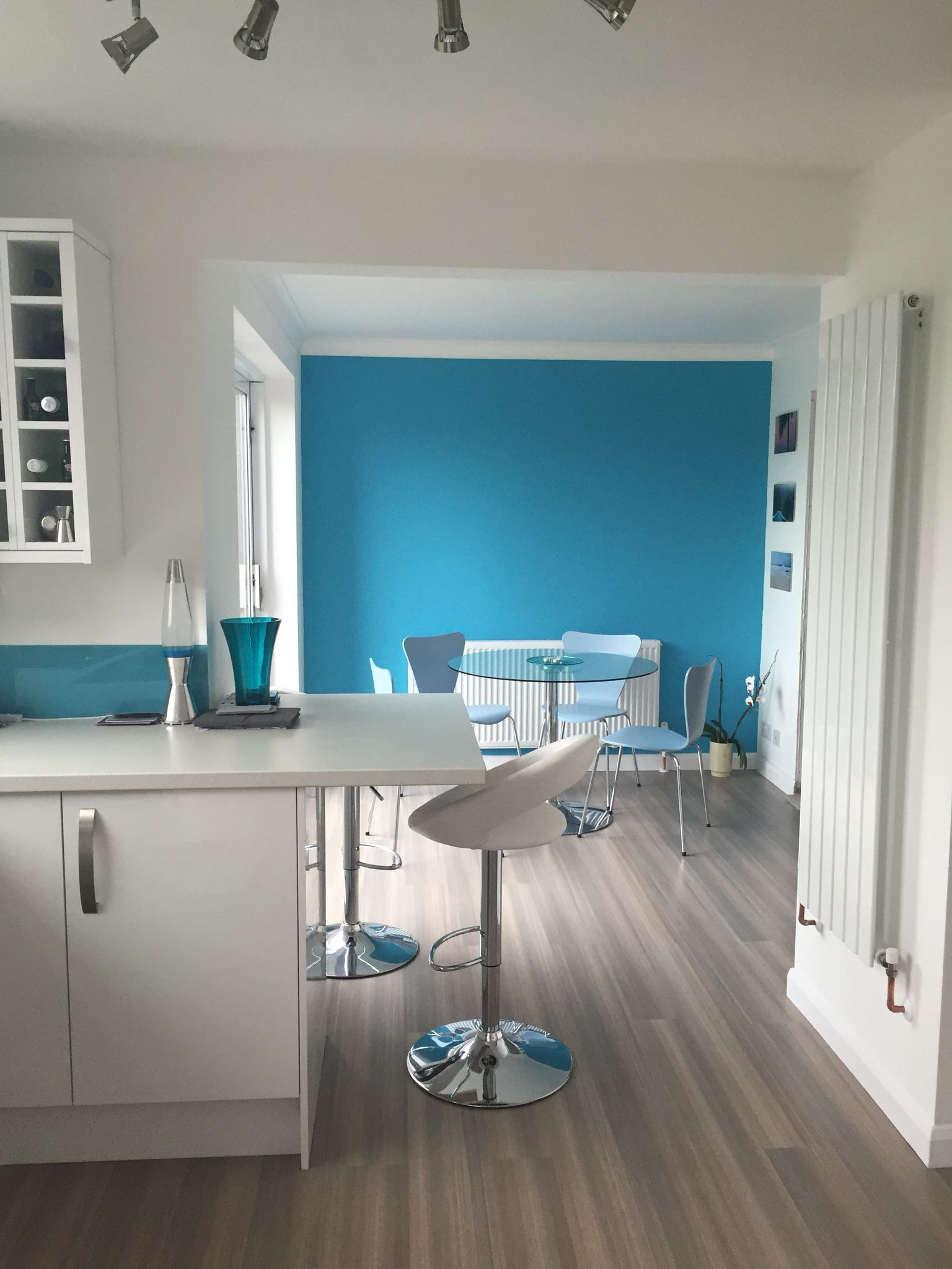 Blue and teal kitchen diner. Blue feature wall   Teal Modern ...