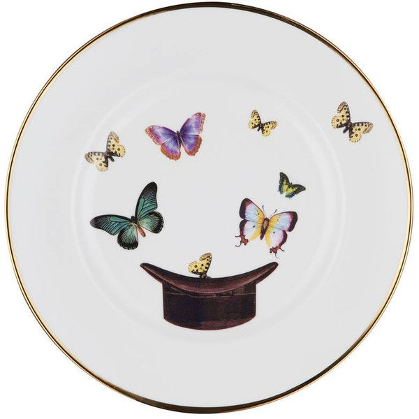 Melody Rose Hat And Butterfly Bone China Plate ($48) ❤ liked on Polyvore featuring home, kitchen & dining and bone china