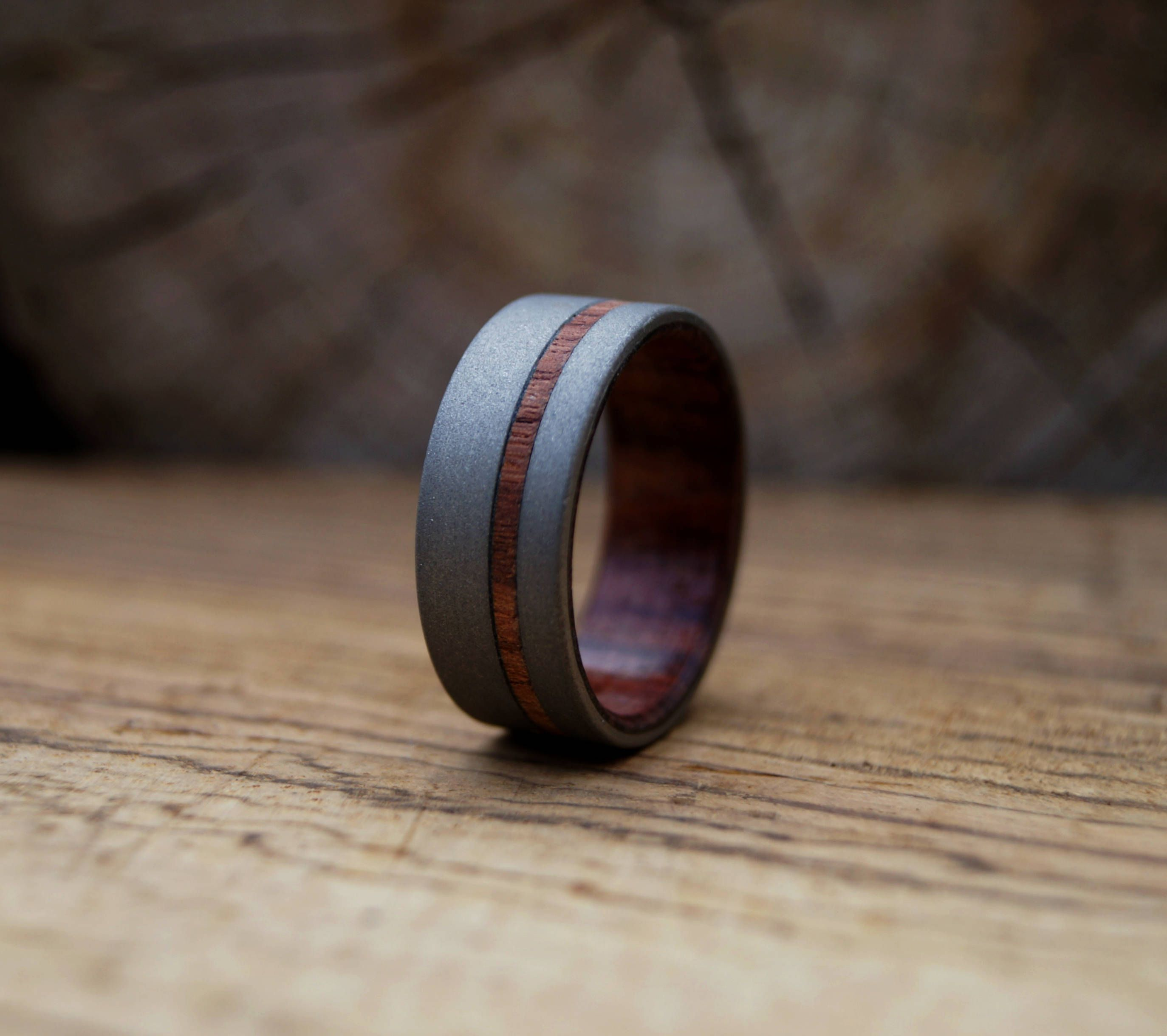 Sand Blasted Stainless Steel Ring With King Wood Inlay Titanium Wedding Rings Stainless Steel Rings Mens Wedding Rings