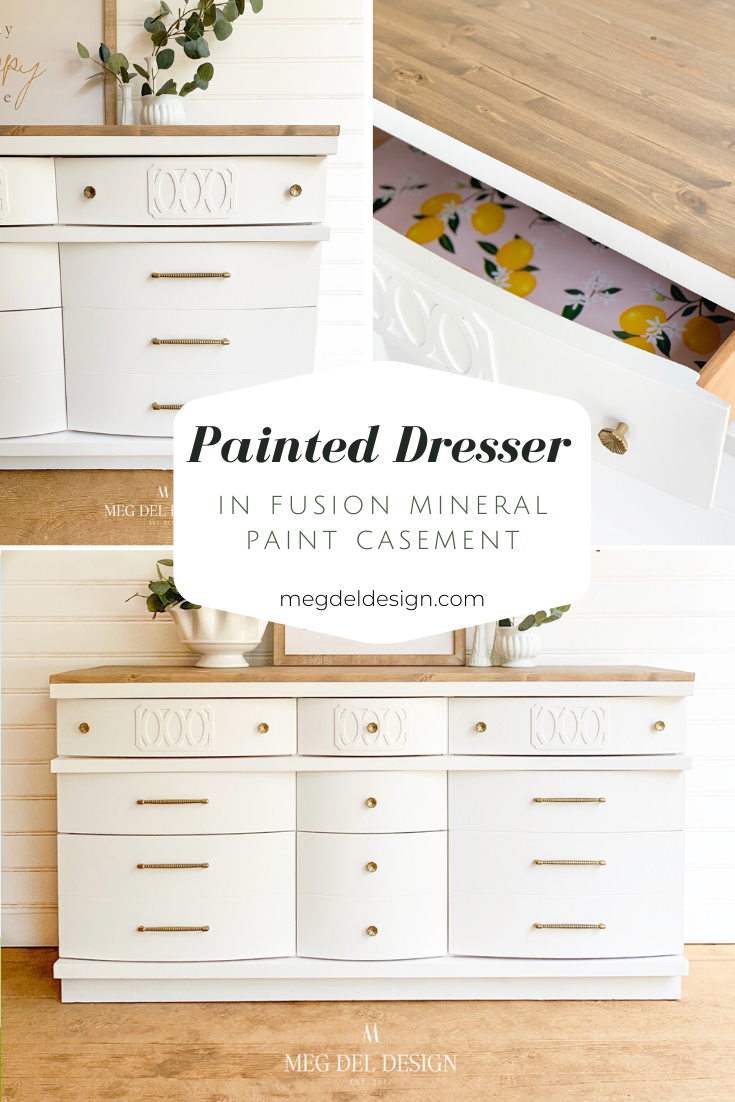 Painted White Dresser In Fusion Mineral Paint Casement Meg Del Design Furniture In 2020 White Painted Dressers White Painted Furniture White Wood Dresser