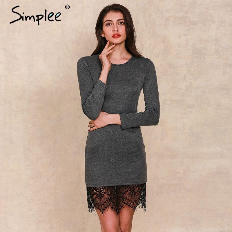 Simplee apparel 우아한 블랙 레이스 회색 bodycon dress 저녁 파티 긴 소매 겨울 dress 여성 캐주얼 vestidos 드 축제