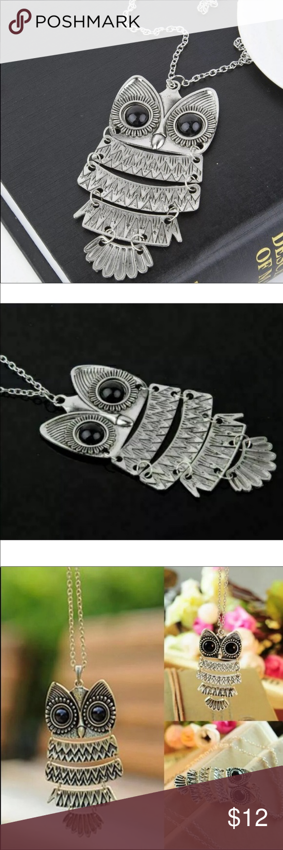 """Photo of Silver Owl Pendant Necklace Silver Owl Pendant Necklace Chain 18 """"Alloy …"""