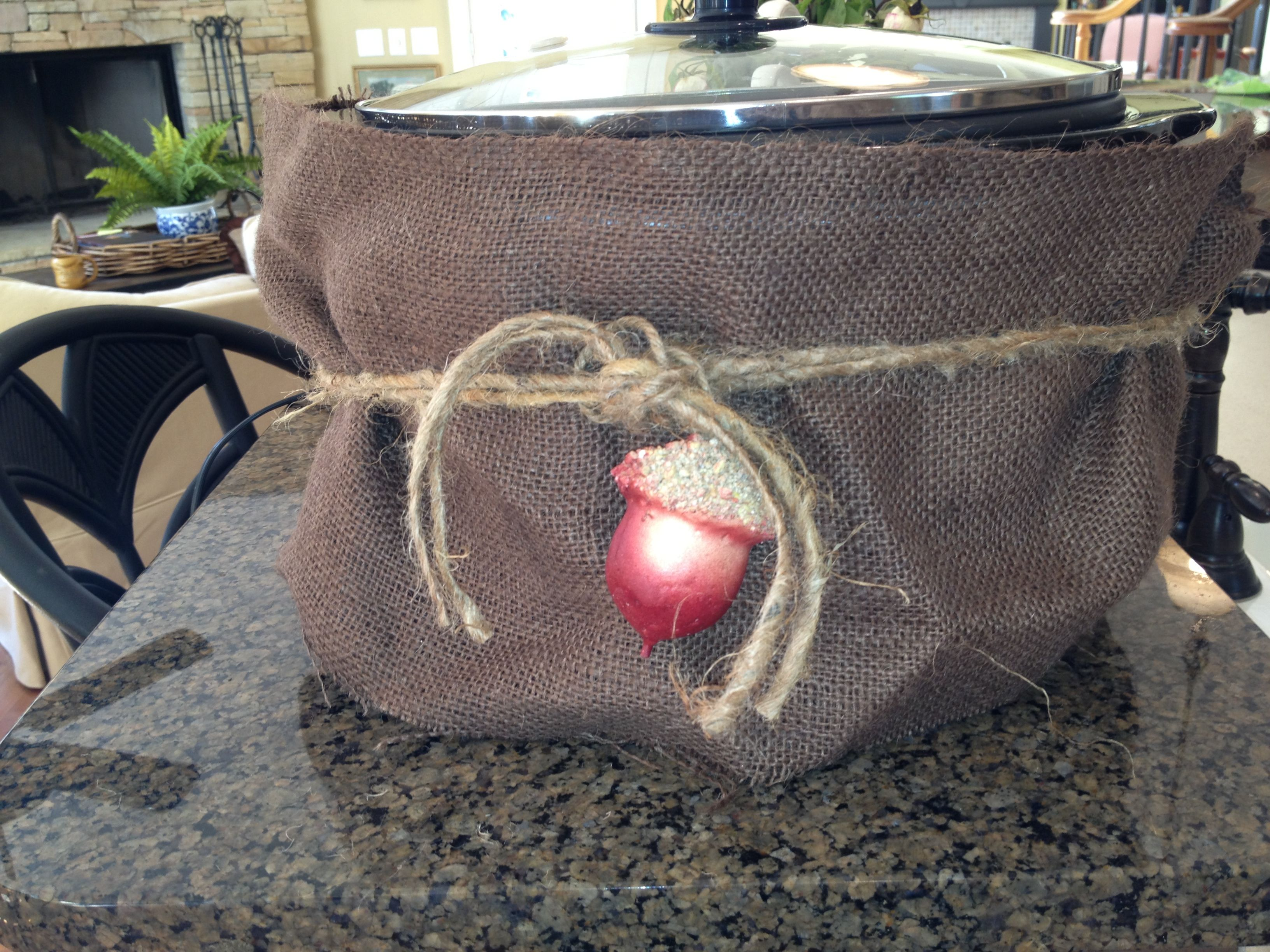 A Burlap Crockpot Cover Baby Shower Food Burlap Burlap Bag