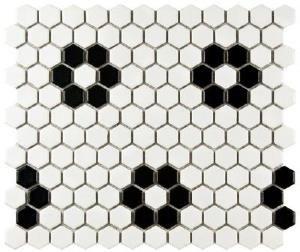 Carrelage Mosaique Hexagone Fleur 2 Noir Blanc 2 5x2 5 Cm Avec