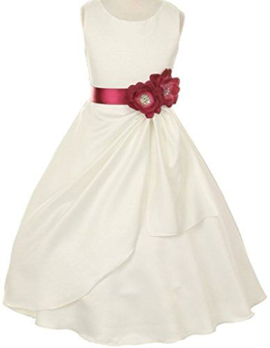 689645c1a858 Big Girls IVORY Dress Little Side Loops Sash Flowers Girls Dresses Burgundy  8 * Want to know more, click on the image.