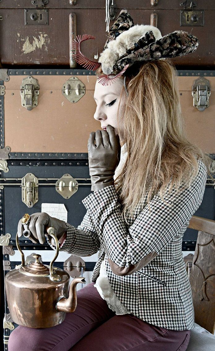 When A Moth Landed On The Girl With The Copper Kettle... #misterfinch #moth #constance #girlwiththecopperkettle #thegirlwiththecopperkettle #copperkettlegirl #style #personalstyle