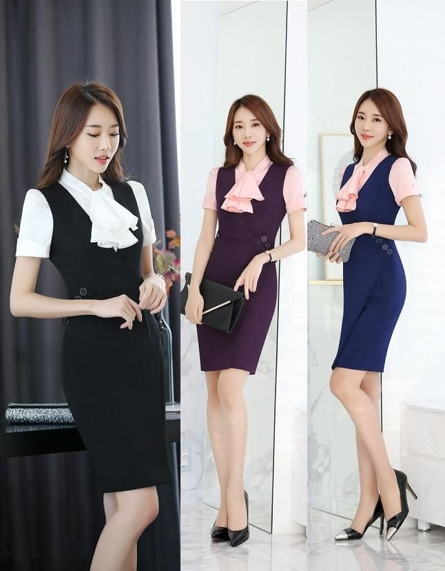 b19f61370dd Plus Size 3XL Summer Short Sleeve Formal Professional Business Women Work  Suits With Blouses And Dress