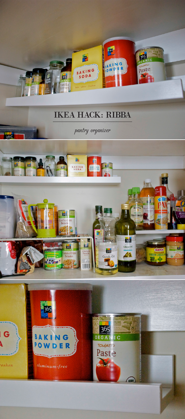 ikea hack ribba picture ledge into pantry organizer kitchen