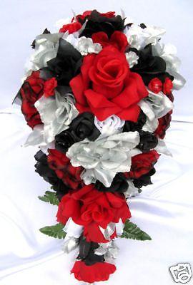21pc Bridal bouquet wedding flower RED / BLACK / SILVER | Red black ...