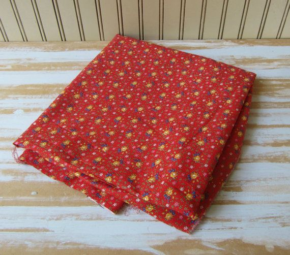 2 Yards Red Fabric Small Floral Print Cotton Blend Quilting Fabric 74 x 45 inch