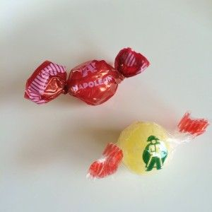 Napoleon Bonbons sour ball candy from Belgium - strawberry and lemon flavors