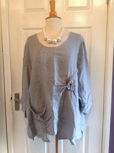 68886821f7e49 EXTYN-Collection-Beautiful-Grey-Linen-Tunic-Top-Lagenlook-Size-L-UK ...