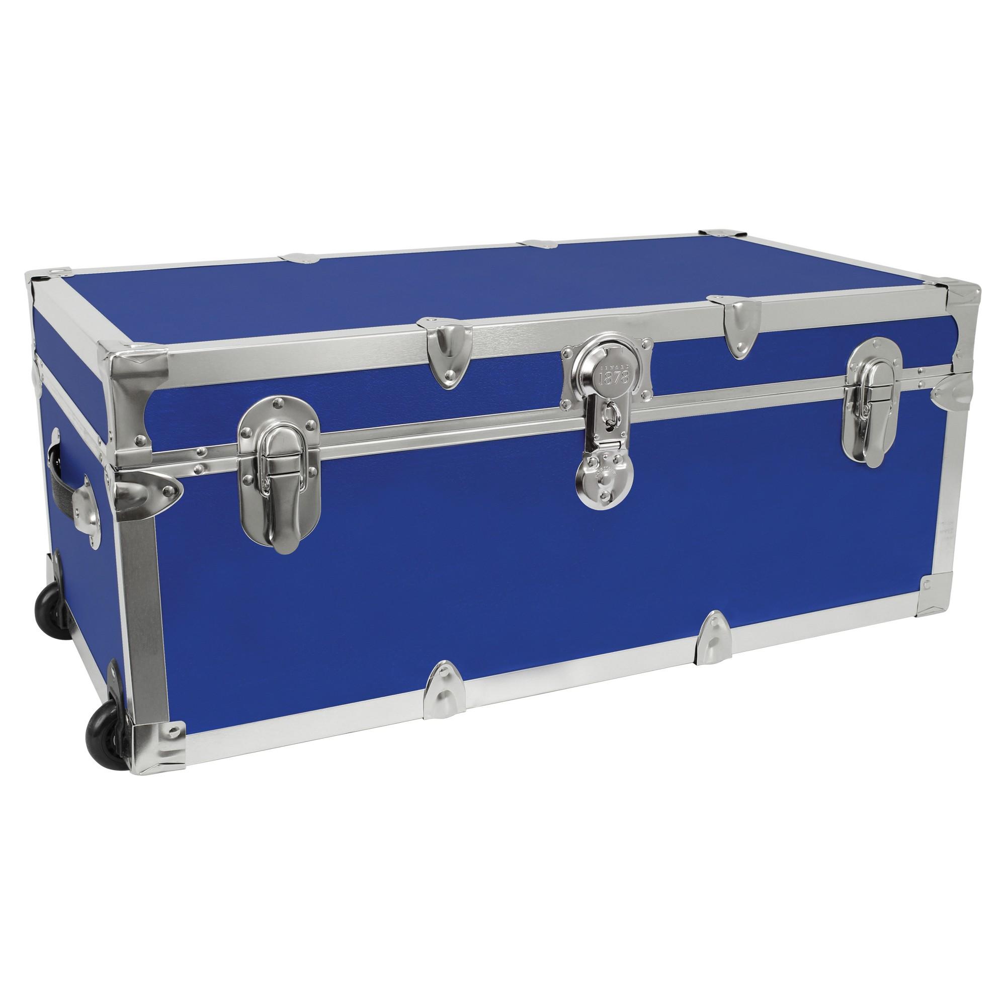Mercury Modern   Footlocker Storage Trunk With Wheels   Blue