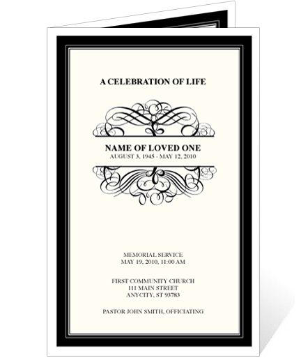 Elegant Monogram Style Memorial Service Programs Signature - death announcement templates