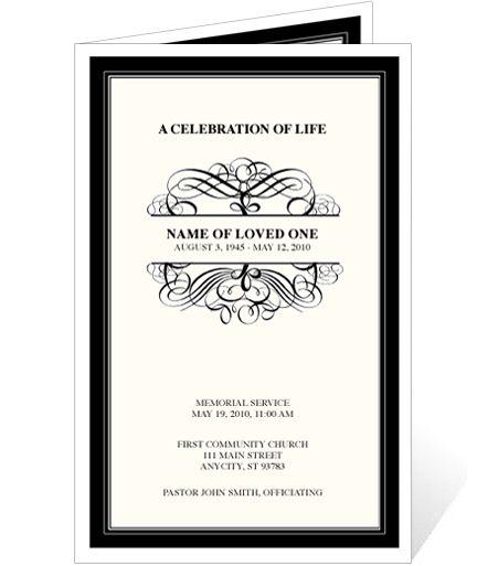 Elegant Monogram Style Memorial Service Programs Signature