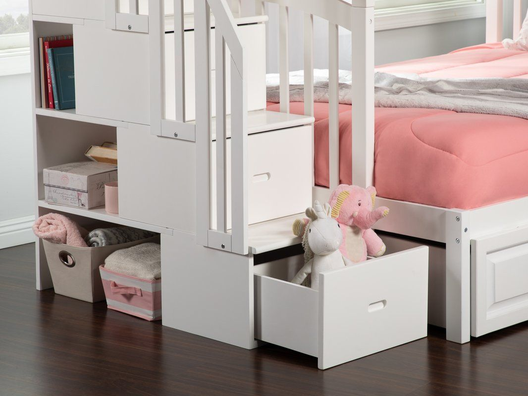 Best Simmons Staircase Twin Over Full Bunk Bed With Shelves 400 x 300